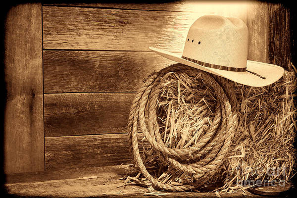 Photograph - Cowboy Hat On Hay Bale  by American West Legend By Olivier Le Queinec