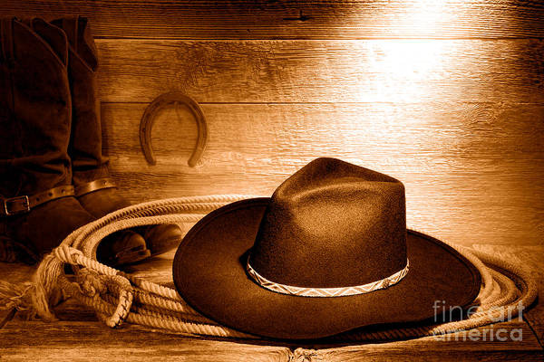 Wall Art - Photograph - Cowboy Hat On Lasso - Sepia by Olivier Le Queinec