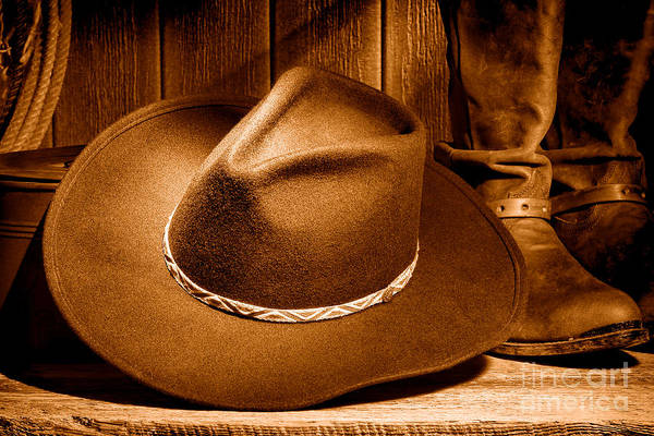 Wall Art - Photograph - Cowboy Hat - Sepia by Olivier Le Queinec