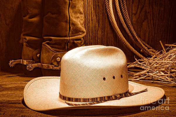 Wall Art - Photograph - Cowboy Hat With Western Boots - Sepia by Olivier Le Queinec