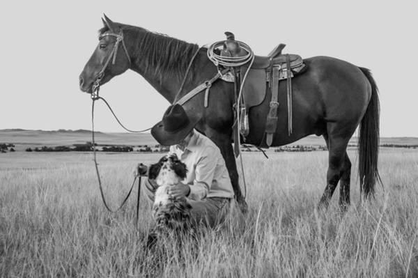 Wall Art - Photograph - Cowboy, His Horse And Dog by Daniel Hagerman