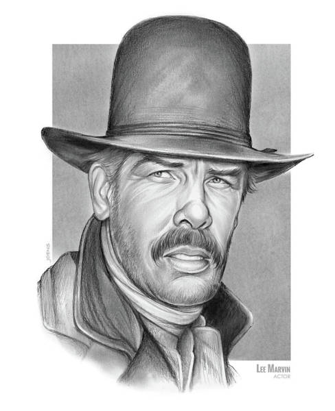 Television Drawing - Cowboy Lee Marvin by Greg Joens