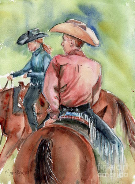 Aqha Painting - Cowboy, Looking Back by Maria's Watercolor