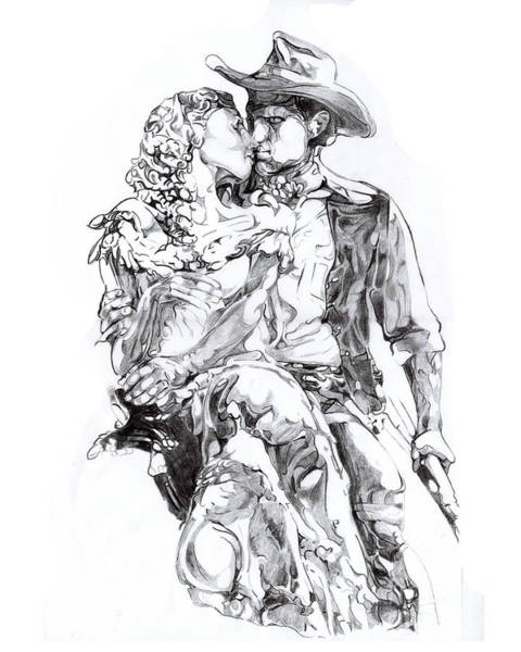 Wall Art - Drawing - Cowboy by Mike Massengale