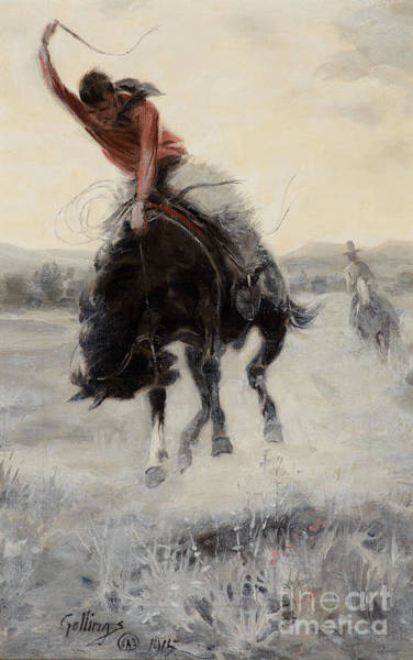 Painting - Cowboy On A Bronc by Celestial Images