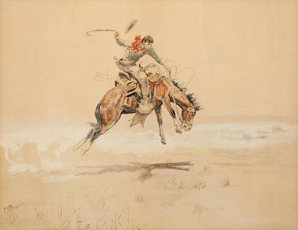 Circa Painting - Cowboy On A Bucking Horse by Celestial Images