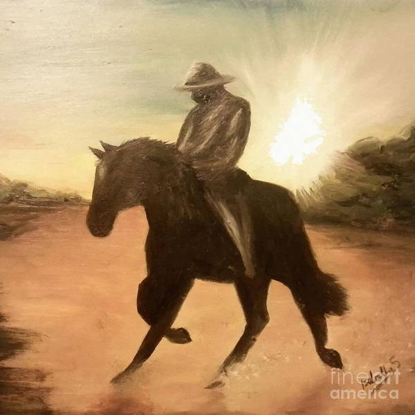 Painting - Cowboy On The Range by Abbie Shores