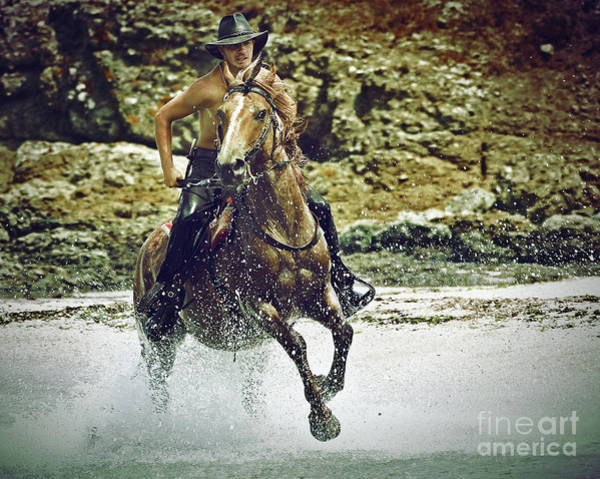 Photograph - Cowboy Riding In The Sea by Dimitar Hristov