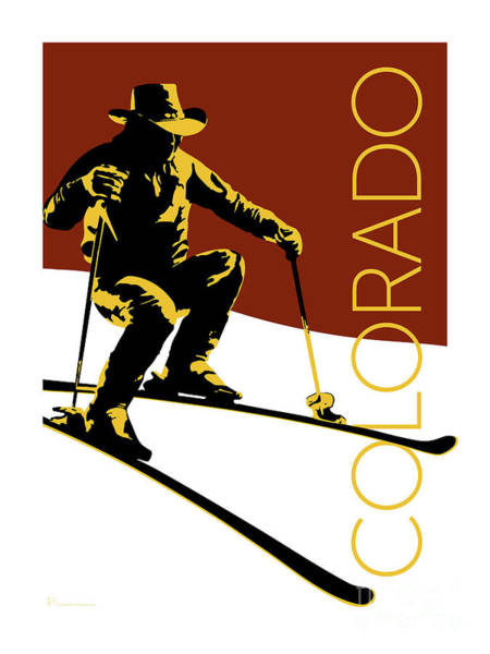Digital Art - Colorado Cowboy Skier by Sam Brennan