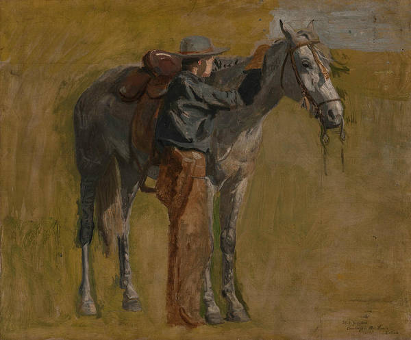 Painting - Cowboy - Study For Cowboys In The Badlands by Thomas Eakins