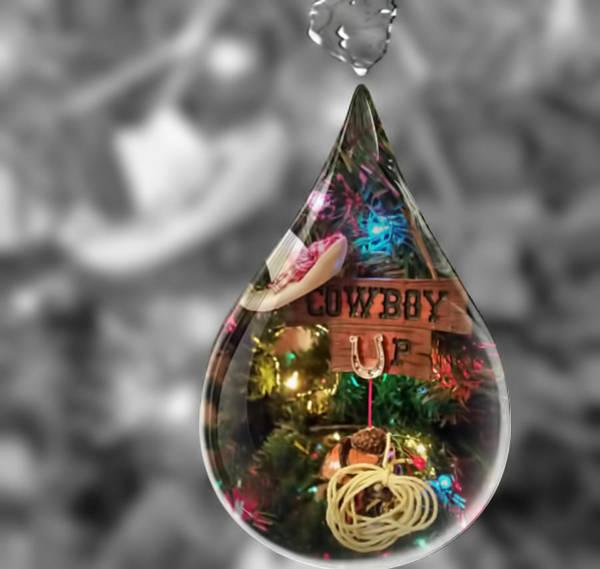 Mixed Media - Cowboy Up In Raindrop by Pamela Walton