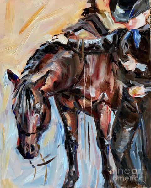 Horsemanship Painting - Cowboy With His Horse by Maria's Watercolor