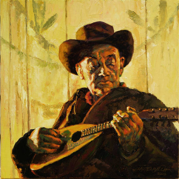 Wall Art - Painting - Cowboy With Mandolin by John Lautermilch
