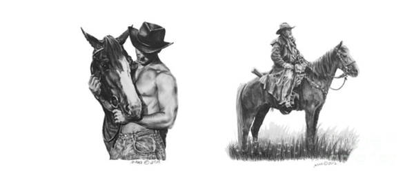 Drawing - Cowboys And Horses by Marianne NANA Betts