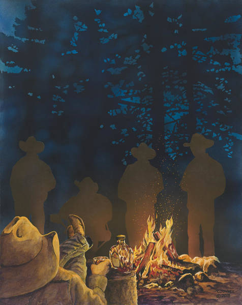 Painting - Cowboys Campfires And Crown by Tim  Joyner