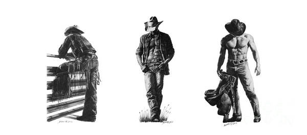 Drawing - Cowboys by Marianne NANA Betts