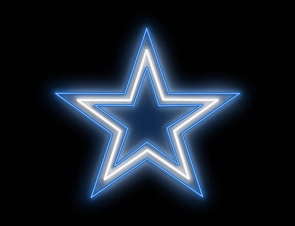 Wall Art - Digital Art - Cowboys Star Neon Sign by Ricky Barnard