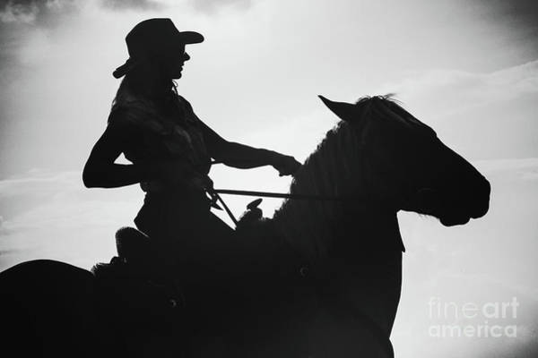 Photograph - Cowgirl And Horse Silhouette by Dimitar Hristov