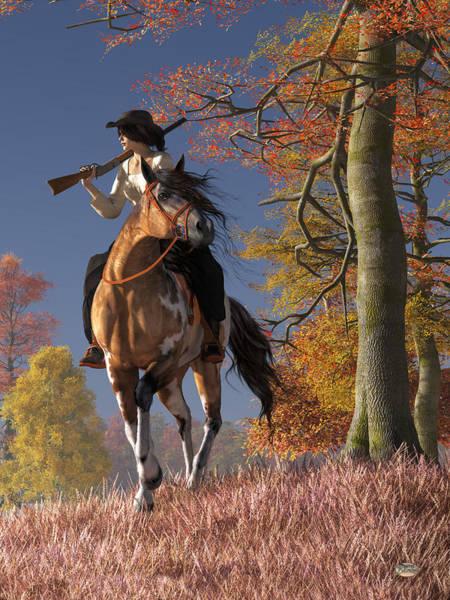 Digital Art - Cowgirl Autumn by Daniel Eskridge