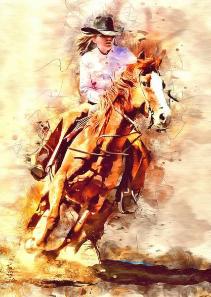 Photograph - Cowgirl Barrel Racer by Studio Artist