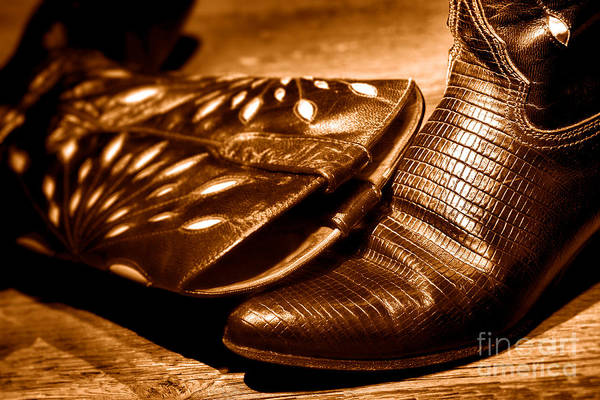 Wall Art - Photograph - Cowgirl Gator Boots - Sepia by Olivier Le Queinec