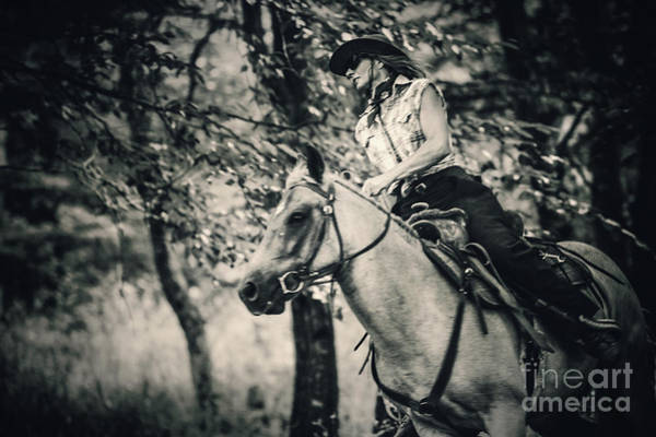 Photograph - Cowgirl Riding In The Forest by Dimitar Hristov