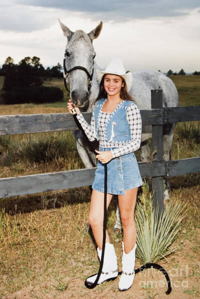 Photograph - Cowgirl Standing With Horse by Steve Krull