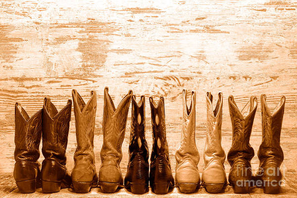 Wall Art - Photograph - Cowgirls Night Out - Sepia by Olivier Le Queinec