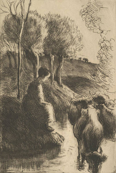 Relief - Cowherd, At Water's Edge by Camille Pissarro