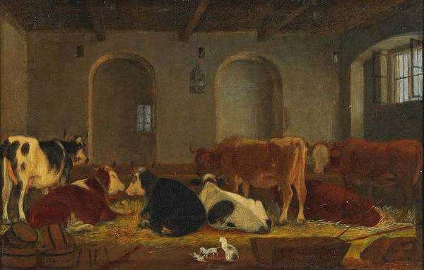 Wall Art - Painting - Cows And Cats In The Stable by Johann Michael Neder