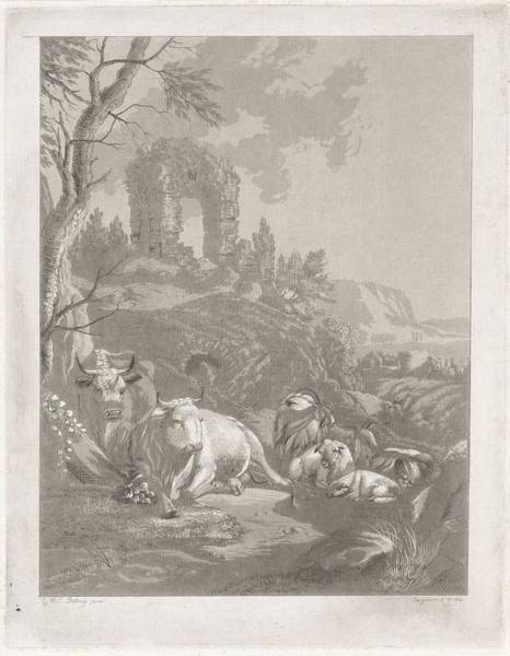 African Penguin Painting - Cows, Goats And Sheep In A Mountainous Landscape With Ruin, Diederik Jan Singendonck, After Christia by Christian Wilhelm Ernst Dietrich