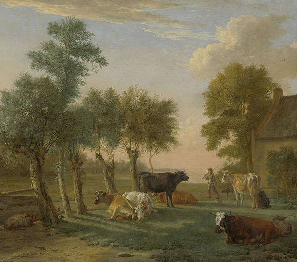Dairy Painting - Cows In A Meadow Near A Farm by Paulus Potter