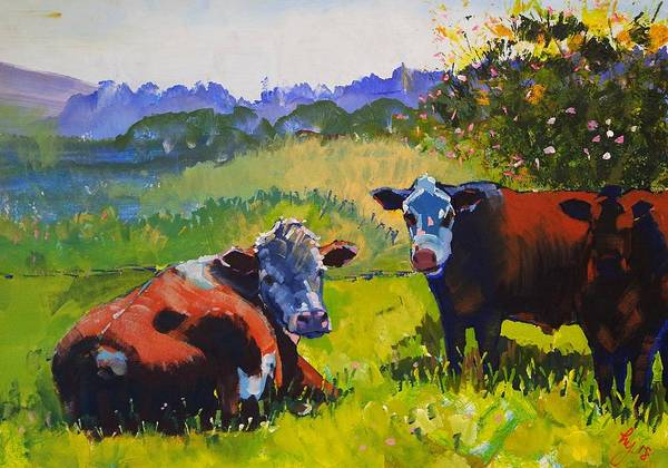 Painting - Cows In Devon Landscape  by Mike Jory