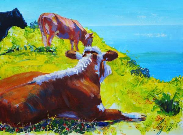 Painting - Cows On Clifftop In Sun - Summer Loving by Mike Jory