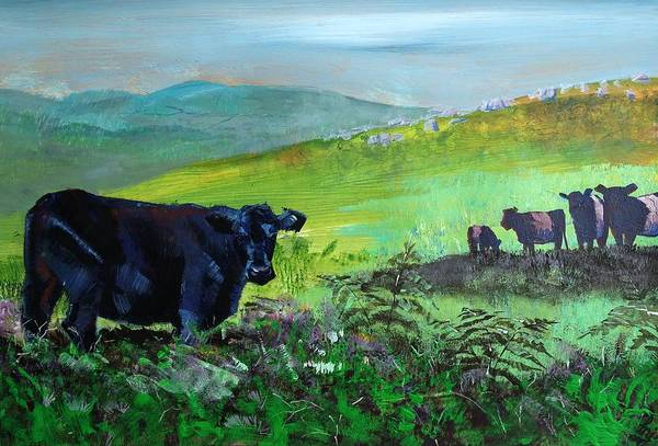 Painting - Cows On Dartmoor by Mike Jory