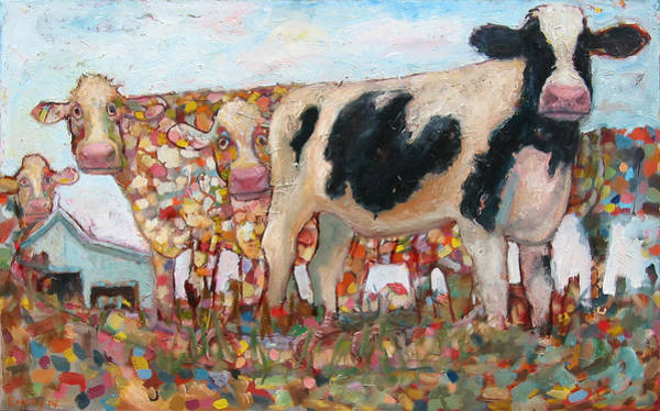 Painting - Cows On Grass by Paul Emory