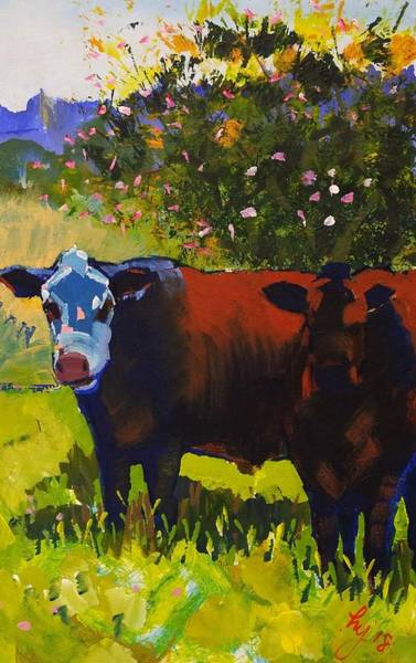 Drawing - Cows Sheltering Under A Tree by Mike Jory