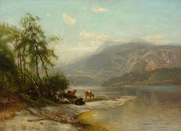Painting - Cows Watering At River's Edge by Arthur Parton