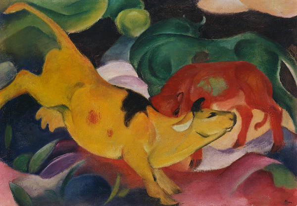 Ambiguous Painting - Cows Yellow Red And Green by Franz Marc