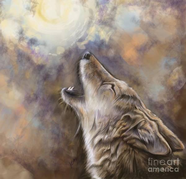 Coyote Painting - Coyote Moon by Julianne Black DiBlasi