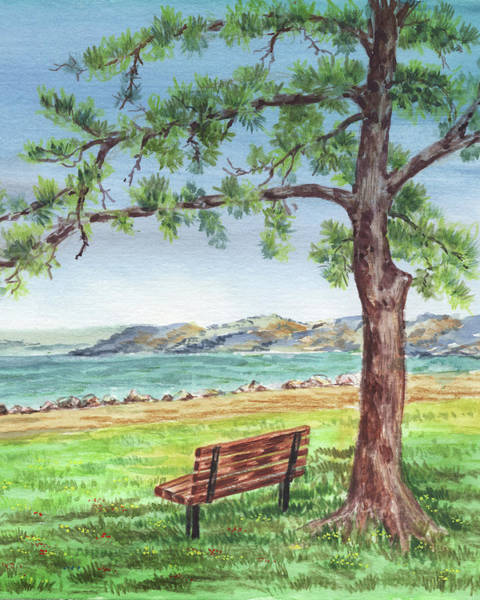 Wall Art - Painting - Cozy Bench Under The Tree Watercolor Landscape by Irina Sztukowski