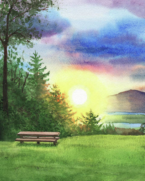 Wall Art - Painting - Cozy Inviting Bench To Watch The Sunset by Irina Sztukowski