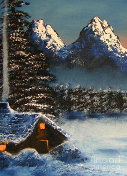 Painting - Cozy Mountain Cabin by Marianne NANA Betts