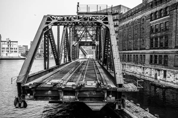 Photograph - Cp Menomonee River Swing Bridge - Black And White by Randy Scherkenbach