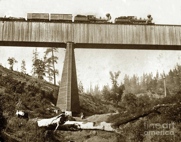 Photograph - Cprr Train  On Section Of The Long Ravine Bridge, From Below, 12 by California Views Archives Mr Pat Hathaway Archives