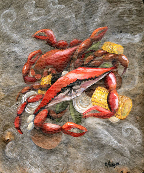 Slate Painting - Crab Boil by Elaine Hodges