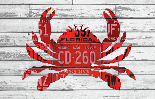 Beach House Mixed Media - Crab In License Plates Beach House Vintage Decor Series 003 by Design Turnpike