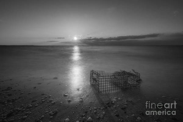 Sandy Hook Wall Art - Photograph - Crab Trap Sunset Le Bw by Michael Ver Sprill
