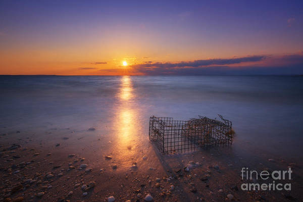 Sandy Hook Wall Art - Photograph - Crab Trap Sunset Le by Michael Ver Sprill