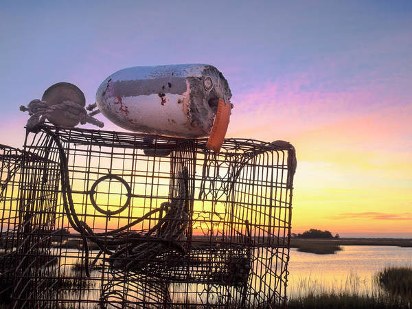 Photograph - Crab Trapped - Sunrise Sunset Photo Art by Jo Ann Tomaselli